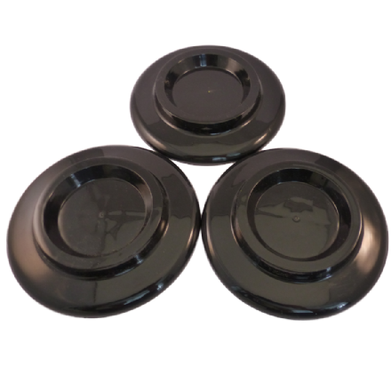 Castor Cups Black Plastic for larger grand wheels - set of 3